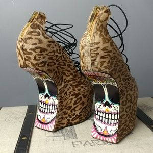taylor Says Shoes - Punk Sugar Skull goth leopard shoes Taylor Says